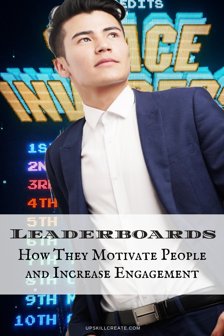 man standing in front of a leaderboard- Post title: Leaderboards: How They Motivate People and Increase Engagement